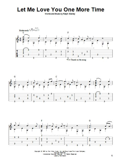 Let Me Love You One More Time Sheet Music   Ralph Stanley