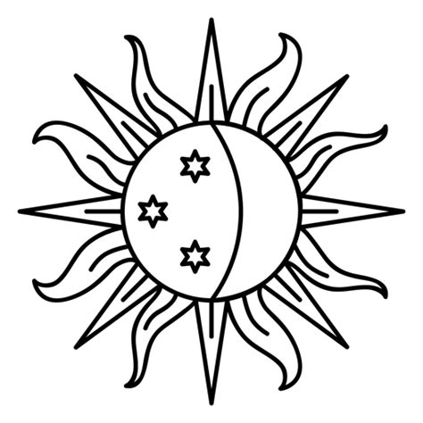 Sun moon ray crescent star stroke - Transparent PNG & SVG