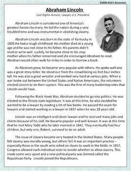 Abraham Lincoln Reading Comprehension by Rick's Resources