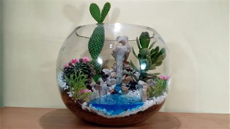 How to make terrarium with waterfall in glass bowl - YouTube