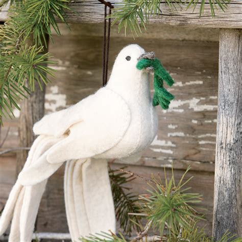 Peace Dove Felted Ornament, Holiday: Olive & Cocoa