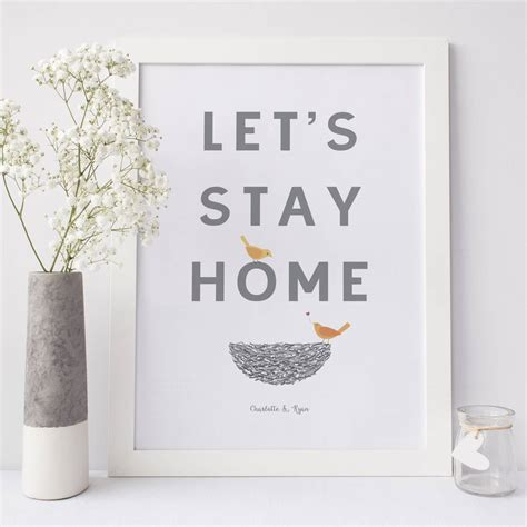 let's stay home anniversary love hygge print by wink