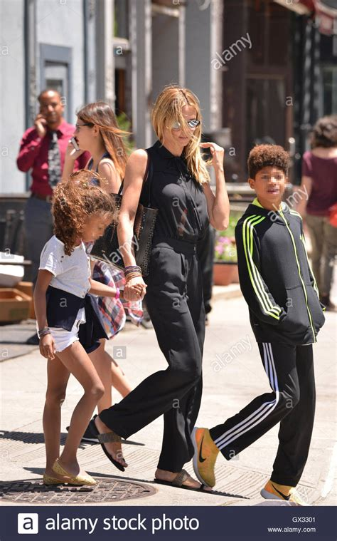 Heidi Klum goes out with her children on a sunny summer