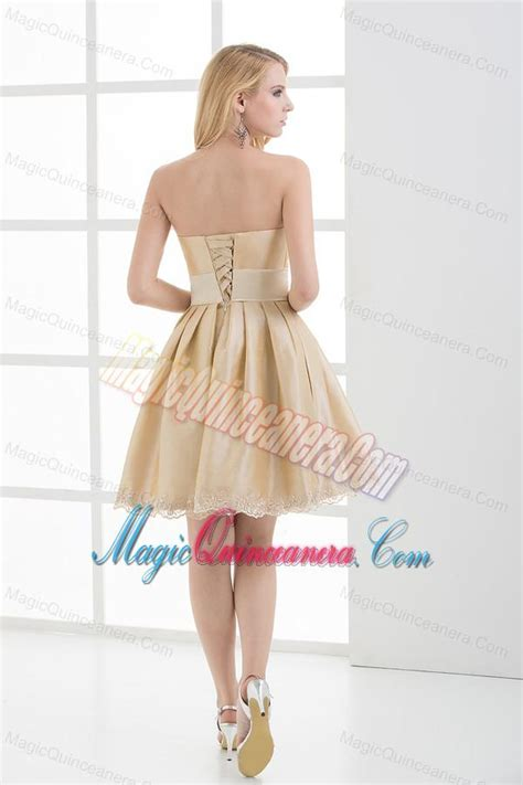 A-line Strapless Sleeveless Embroidery Champagne Dama