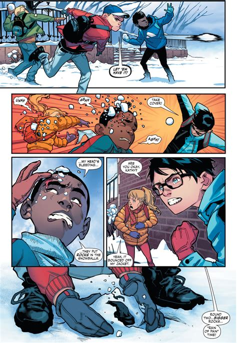 Superboy And Robin In A Snowball Fight (Rebirth