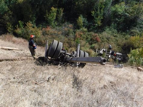 Driver pulled from log-truck, taken to hospital following