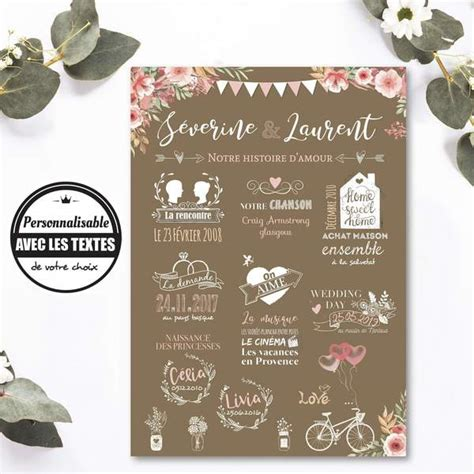 Affiche mariage: chalkboard notre histoire d'amour – Omade