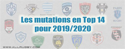 Transferts Rugby Top 14 saison 2019/2020 - AllRugby