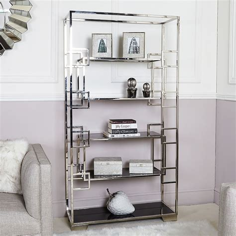 Hayden Glass Shelving Unit Display Cabinet With Polished