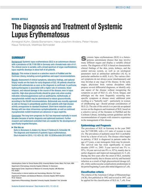 The Diagnosis and Treatment of Systemic Lupus